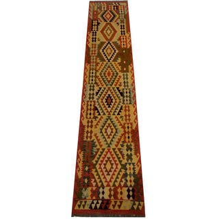 Herat Oriental Afghan Hand-woven Vegetable Dye Wool Kilim Runner (2'8 x 12'9)
