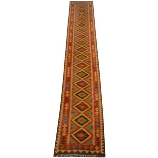 Herat Oriental Afghan Hand-woven Vegetable Dye Wool Kilim Runner (2'10 x 15'11)