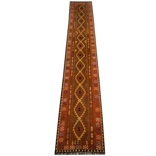 Herat Oriental Afghan Hand-woven Vegetable Dye Wool Kilim Runner (2'9 x 16'3)
