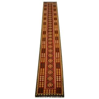 Herat Oriental Afghan Hand-woven Vegetable Dye Wool Kilim Runner (2'9 x 16'1)