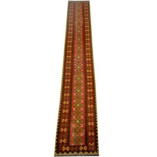 Herat Oriental Afghan Hand-woven Vegetable Dye Wool Kilim Runner (2'8 x 16'3)