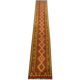 Herat Oriental Afghan Hand-woven Vegetable Dye Wool Kilim Runner (2'7 x 16'1)