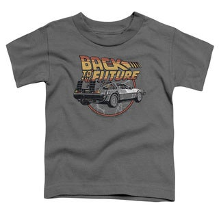 Back To The Future/Time Machine Short Sleeve Toddler Tee in Charcoal