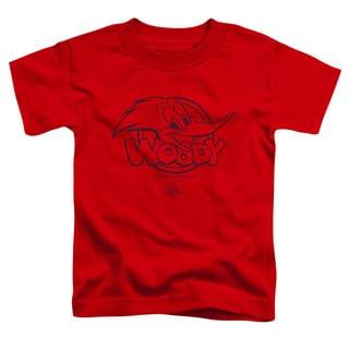 Woody Woodpecker/Big Head Short Sleeve Toddler Tee in Red