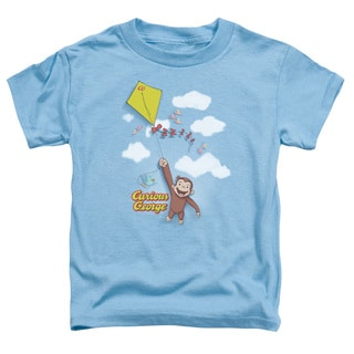 Curious George/Flight Short Sleeve Toddler Tee in Carolina Blue