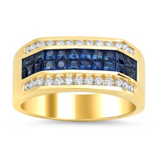 Artistry Collections 14k Yellow Gold 1ct TDW Diamond and 1 1/2 TGW Sapphire Men's Ring