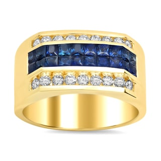Artistry Collections 14k Yellow Gold 1 1/2 carat TDW Diamond and 1 3/4 carat TGW Sapphire Men's Ring