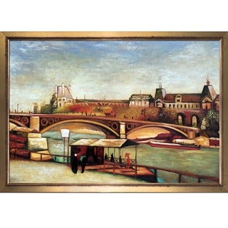 Vincent Van Gogh 'The Pont du Carrousel and the Louvre, 1886' Hand Painted Framed Canvas Art