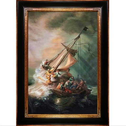 Rembrandt van Rijn 'The Storm on the Sea of Galilee' Hand Painted Framed Canvas Art - Multi-Color