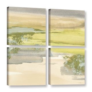 Chris Paschke's 'Grey Stone I' 4 Piece Gallery Wrapped Canvas Square Set
