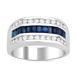 Artistry Collections 14k White Gold 3/4ct TDW Diamond and 1 3/4ct TGW Sapphire Men's Ring