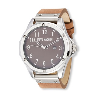 Steve Madden Brown Leather Strap Watch with Silver Case