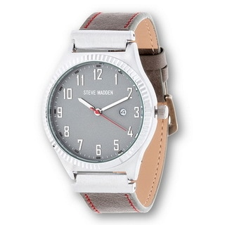 Xtreme Steve Madden Gray Leather Strap Watch with Silver Case