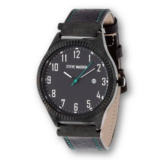 Steve Madden Black Case and Black Leather Strap Watch