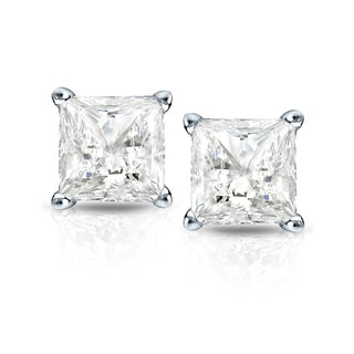 Auriya 14k Gold 3/4ct TDW Princess-Cut Diamond 4-Prong Martini Push-Back Stud Earrings (I-J, I1-I2)