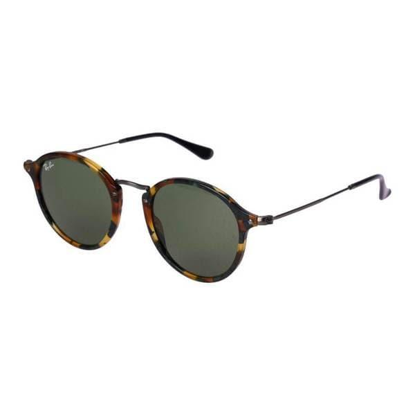 b32fdeb64c1 Ray-Ban RB2447 11594E Round Fleck Tortoise Gunmetal Frame Green Classic  49mm Lens Sunglasses