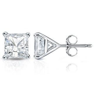 Auriya 14k Gold 1ct TDW Princess-Cut Diamond 4-Prong Martini Push-Back Stud Earrings (H-I, SI1-SI2)