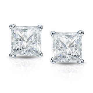 Auriya 14k Gold 1ct TDW Princess-Cut Diamond 4-Prong Martini Push-Back Stud Earrings (I-J, SI2-SI3)