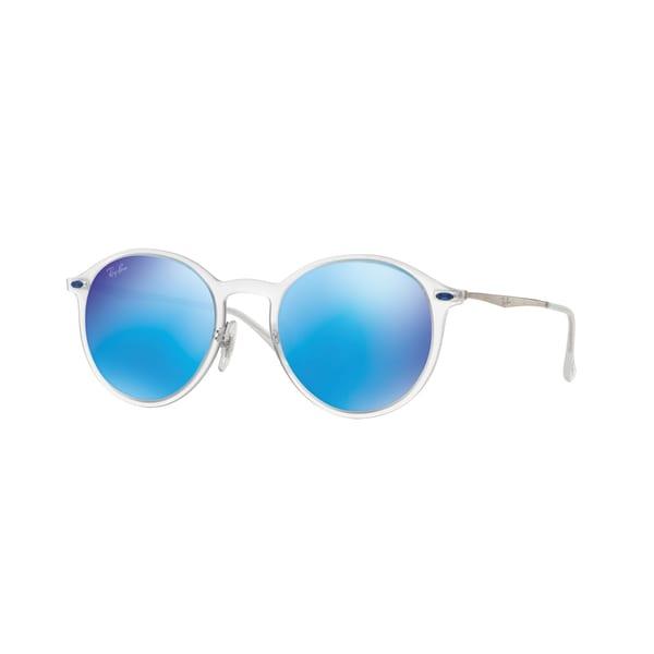 e1232fb118 Ray-Ban RB4224 Round Light Ray Unisex Transparent Silver Frame Blue Mirror  Lens Sunglasses