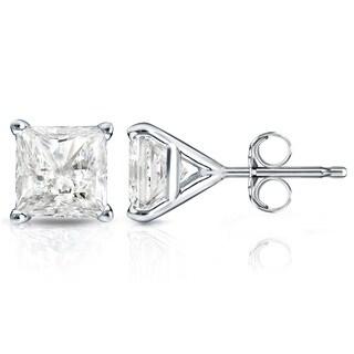 Auriya 14k Gold 1ct TDW Princess-Cut Diamond 4-Prong Martini Push-Back Stud Earrings
