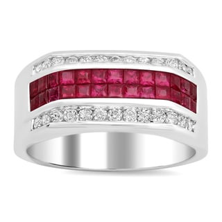 Artistry Collections 14k White Gold 1ct TDW Diamond and 1 1/2ct TGW Ruby Men's Ring