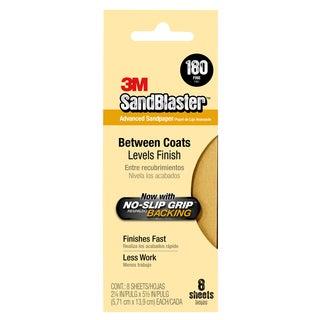 "3M 11180-G 3-2/3"" X 9"" 180 Grit Gold Sandpaper 5-count"