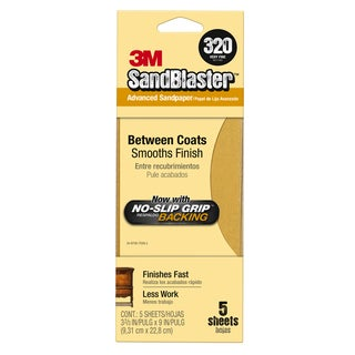 "3M 11320-G 3-2/3"" X 9"" 320 Grit Gold Sandpaper 5-count"