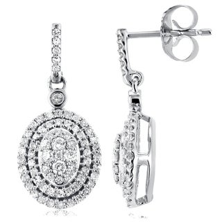 Annello by Kobelli 10k White Gold 1/2ct TDW Diamond Dangle Earrings