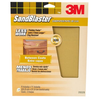"3M 20320-G 9"" X 11"" 320 Grit SandBlaster Paint Stripping Sandpaper"