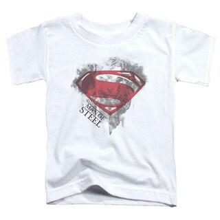 Man Of Steel/Face & Logo Short Sleeve Toddler Tee in White