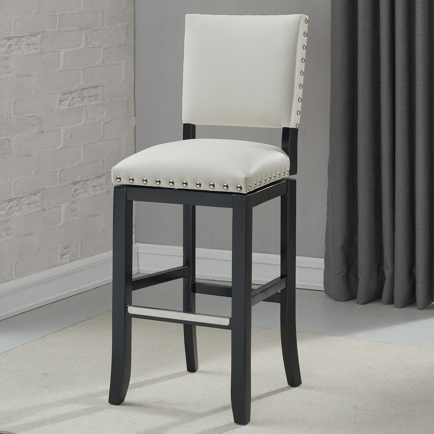Zenith 26 Inch Nailhead Trim White Bonded Leather Counter Height Stool