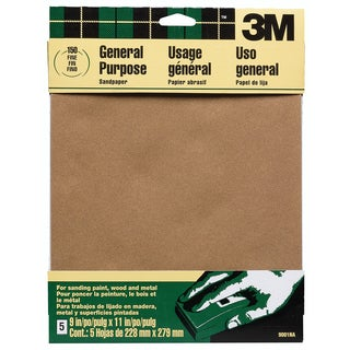 "3M 9001NA 9"" X 11"" Fine Paint, Wood, Metal Sandpaper Sheets"