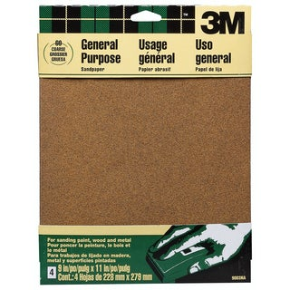 "3M 9003NA 9"" X 11"" Course Paint, Wood, Metal Sandpaper Sheets"