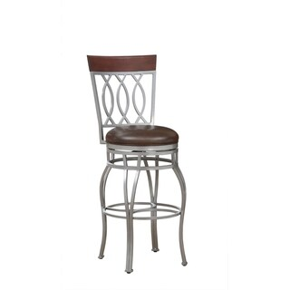 Derby 30-inch Metal Brown Bonded Leather Bar Stool