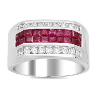Artistry Collections 14k White Gold 1 1/2ct TDW Diamond and 1 3/4ct TGW Ruby Men's Ring