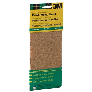 """3M 9019NA 9"""" Assorted Paint, Wood, Metal Sandpaper Third Sheets"""