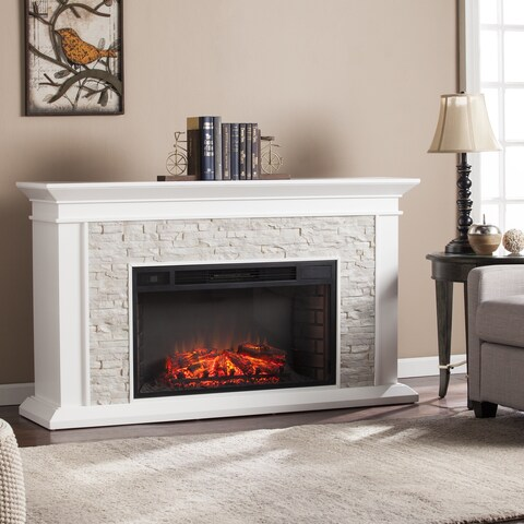 Oliver & James Lega White Faux Stone Widescreen Electric Fireplace
