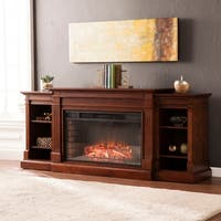 Oliver & James Levine Espresso Widescreen Electric Fireplace with Bookcases