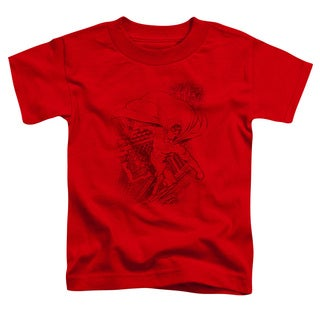 Superman/In The City Short Sleeve Toddler Tee in Red