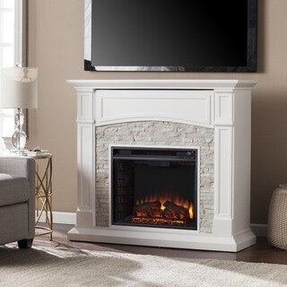Oliver & James Liu White Faux Stone Electric Media Fireplace
