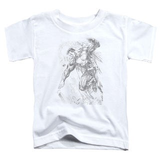 Superman/Pencil City To Space Short Sleeve Toddler Tee in White