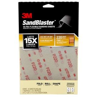 3M 28220SB-UF4 220 Grit Fine Sand Sheet 4-count