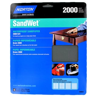 "Norton 48052 9"" X 11"" 2,000 Grit Wet Sand Sheets 5-count"