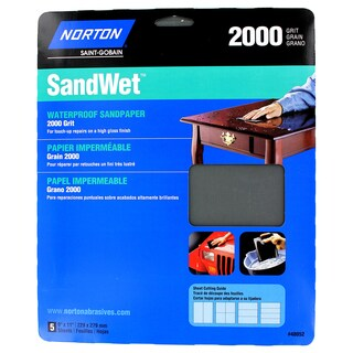 """Norton 48052 9"""" X 11"""" 2,000 Grit Wet Sand Sheets 5-count"""