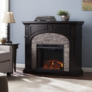 Copper Grove Highfalls Ebony and Gray Stacked Faux Stone Electric Fireplace