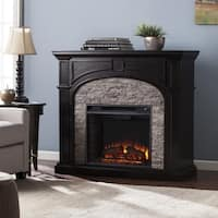 Oliver & James Lieb Ebony and Gray Stacked Faux Stone Electric Fireplace