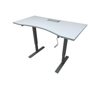 Adjustable Height Grey Crank Desk with 55-inch x 28-inch Ergonomic Desktop