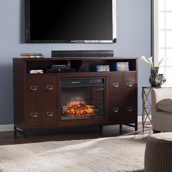 harper blvd roberts espresso infrared electric media stand fireplace