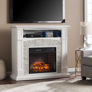 Oliver & James Liu White Faux Stone Infrared Electric Media Fireplace