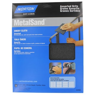 "Norton 47855 9"" X 11"" Assorted Grits MetalSand Sheets 3-count"
